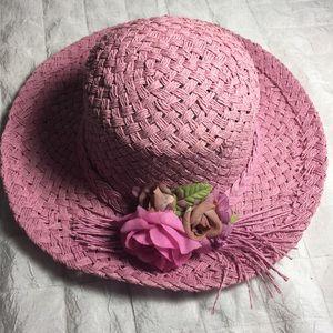 Vintage straw sun hat muted pink Church hat